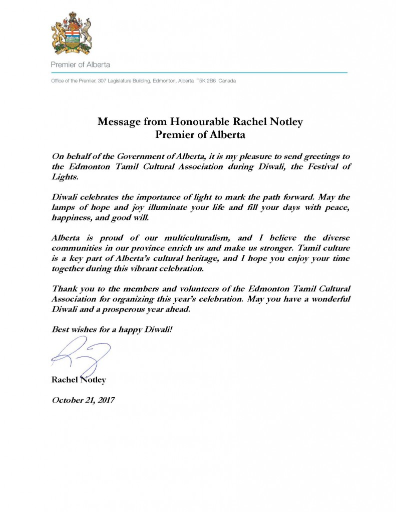 Message From Rachel Notley Edmonton Tamil Cultural Association