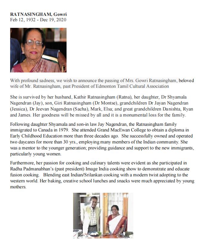 Demise of Mrs.Gowri Ratnasingham